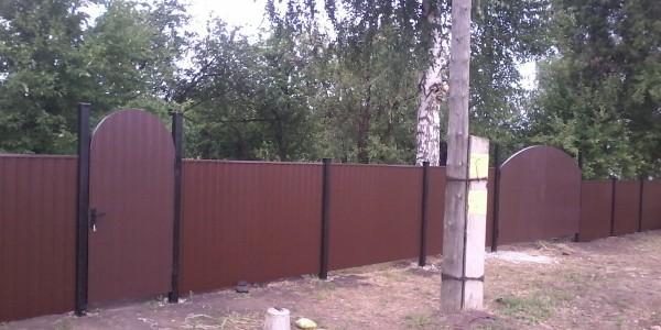 Забор с арочными распашными воротами - 5