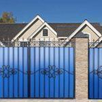 Ворота из профлиста синие