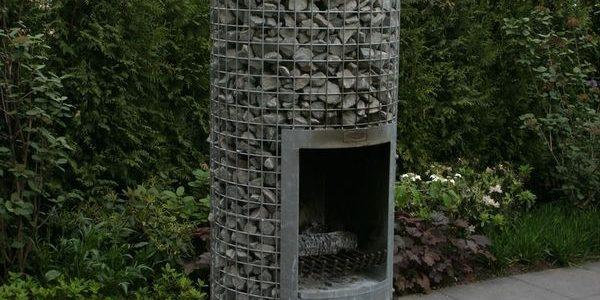 Габион отделка камина