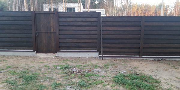 Забор на ленточном фундаменте ворота распашные