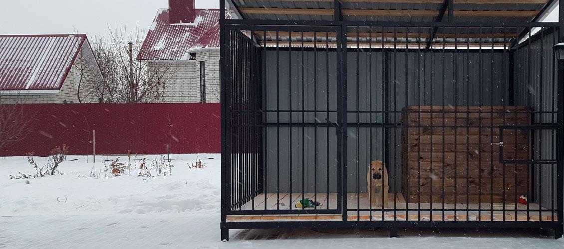 Вольер для крупной собаки зима