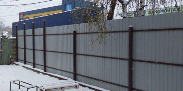 Забор с откатными воротами в Бабяково - 5