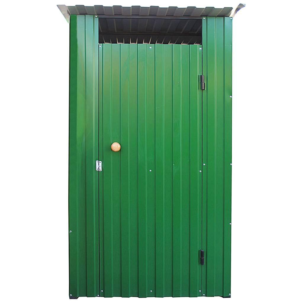 Дачный туалет из металла зеленый