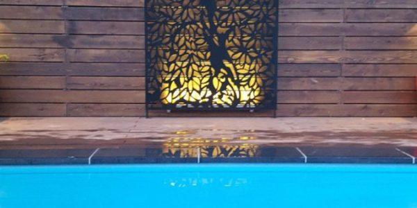 Отделка бассейна планкеном и панелями лазерной резки
