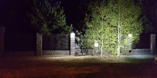 Забор из габионов с деревянными элементами - 11
