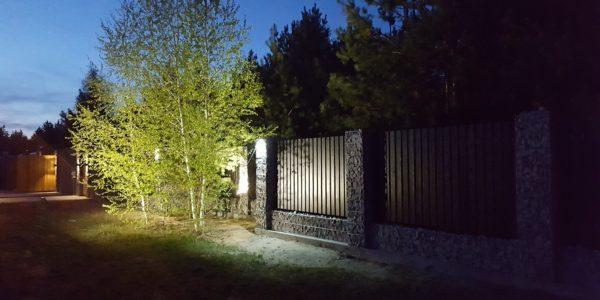 Забор из габионов с деревянными элементами - 15