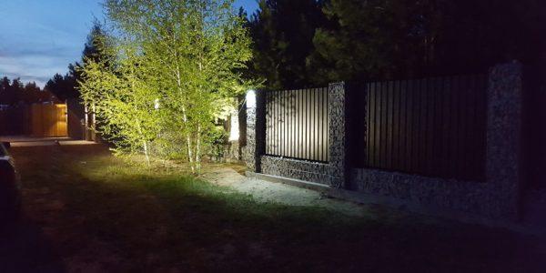 Забор из габионов с деревянными элементами - 10