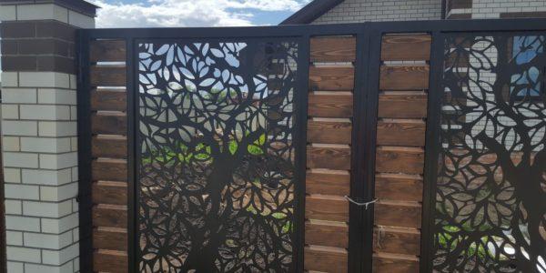 Забор из лиственницы с элементами лазерной резки - 7