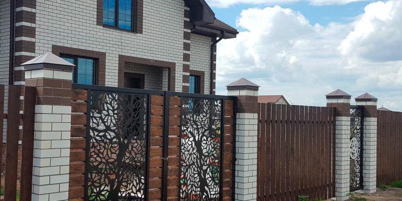 Забор из лиственницы с элементами лазерной резки - 10