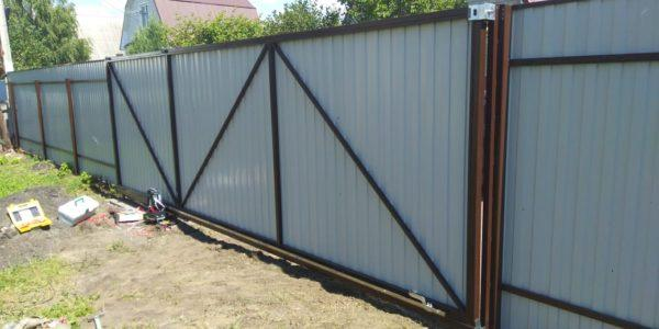 Забор с откатными воротами в Бабяково - 13