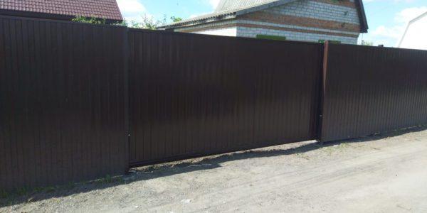 Забор с откатными воротами в Бабяково - 11
